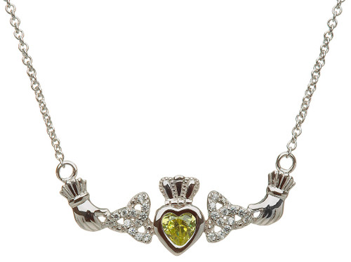 Sterling Silver Birthstone Mother's Necklace - Trinity Knot - 1 Child
