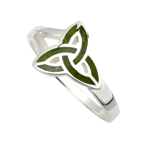 Women's Sterling Silver Connemara Marble Celtic Trinity Knot Ring