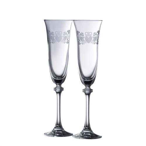 Crystal Claddagh Shamrock Champagne Flute Pair
