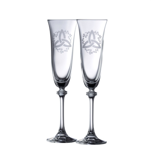 Crystal Trinity Shamrock Champagne Flute Pair
