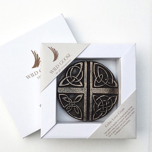 Celtic Love Cross - Carved Bronze