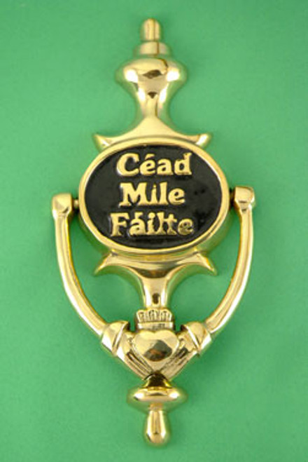 """Claddagh """"Céad Mile Fáilte"""" Brass Door Knocker - Black"""