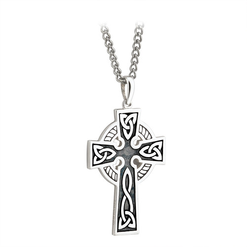 Sterling Silver Double-Sided Oxidized Celtic Cross Pendant with Steel Chain