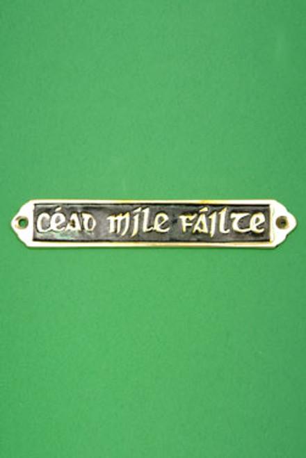 """Céad Mile Fáilte"" Brass Door Plaque - Small, Black"