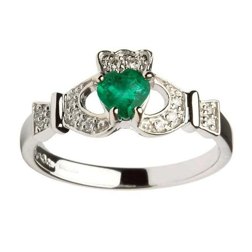 Women's 14 Karat White Gold Emerald & Diamond Set Claddagh Ring
