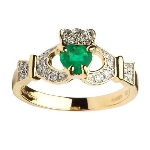 Women's 14 Karat Yellow Gold Emerald & Diamond Set Claddagh Ring