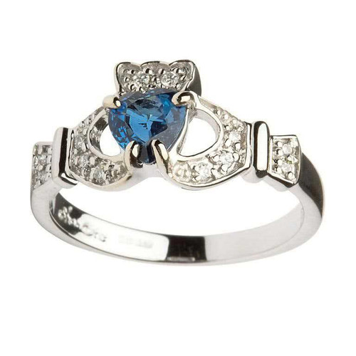 Women's 14 Karat White Gold Sapphire & Diamond Set Claddagh Ring