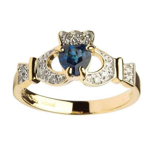 Women's 14 Karat Yellow Gold Sapphire & Diamond Set Claddagh Ring