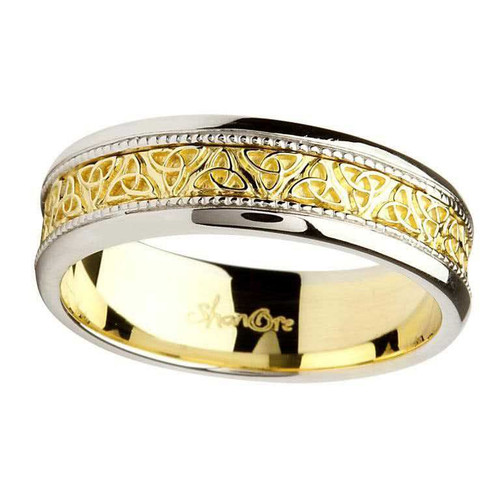 Men's 14 Karat White & Yellow Gold Trinity Knot Band
