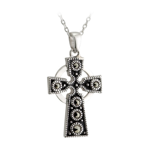 Sterling Silver Marcasite Oxidized Celtic Cross Pendant