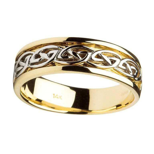 Men's 14 Karat Yellow & White Gold Celtic Knot Band