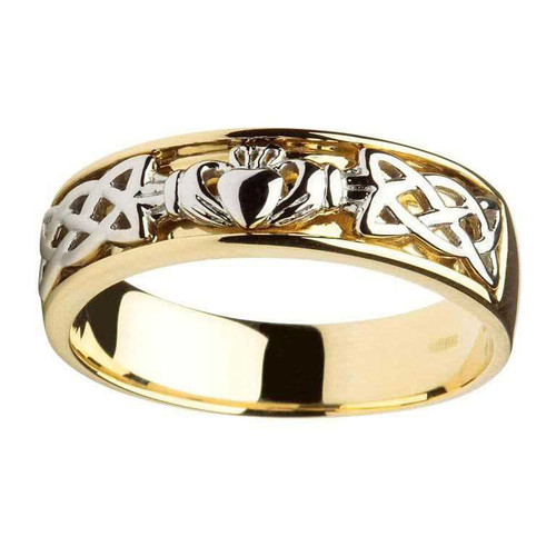Men's 14 Karat Yellow & White Gold Claddagh Celtic Knot Band