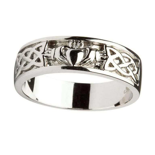 Men's 14 Karat White Gold Claddagh Celtic Knot Band