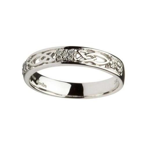 Women's 14 Karat White Gold Diamond Celtic Knot Band