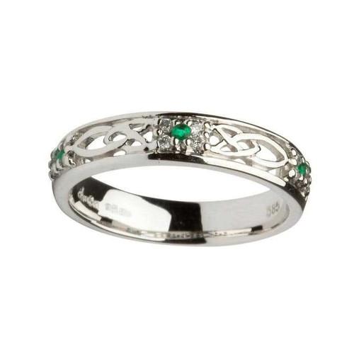 Women's 14 Karat White Gold Emerald & Diamond Celtic Knot Band