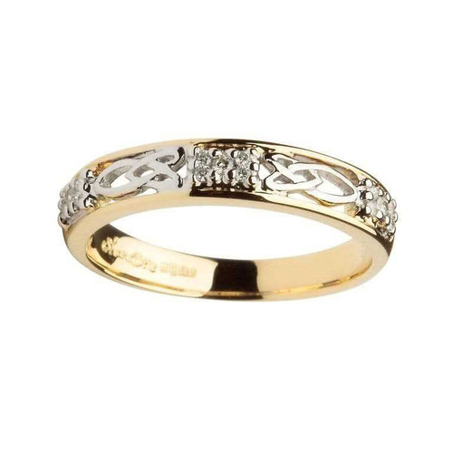 Women's 14 Karat Yellow & White Gold Diamond Celtic Knot Band