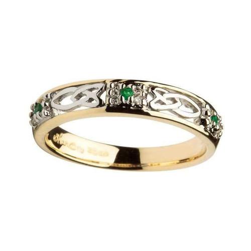 Women's 14 Karat Yellow & White Gold Emerald & Diamond Celtic Knot Band