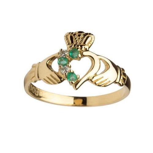 Women's 14 Karat Yellow Gold Emerald & Diamond Asymmetrical Claddagh Ring
