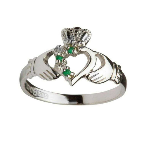 Women's 14 Karat White Gold Emerald & Diamond Asymmetrical Claddagh Ring
