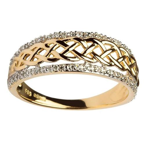 Women's 14 Karat Yellow Gold Diamond Celtic Ring