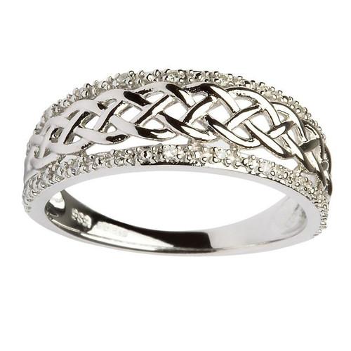 Women's 14 Karat White Gold Diamond Celtic Ring