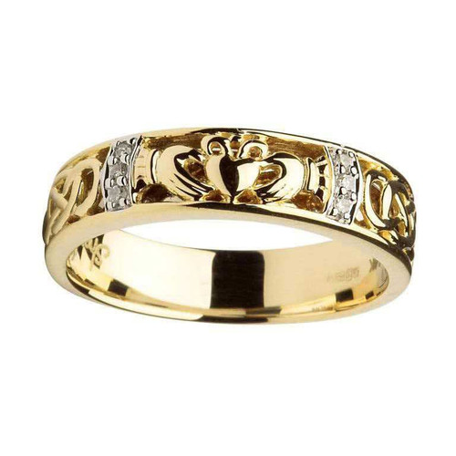 Women's 14 Karat Yellow Gold Diamond Claddagh Celtic Knot Band