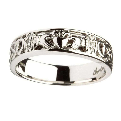 Women's 14 Karat White Gold Diamond Claddagh Celtic Knot Band