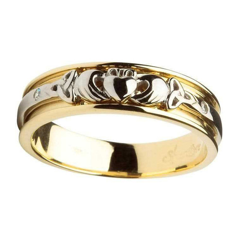 Women's 14 Karat Yellow & White Gold Diamond Claddagh Band