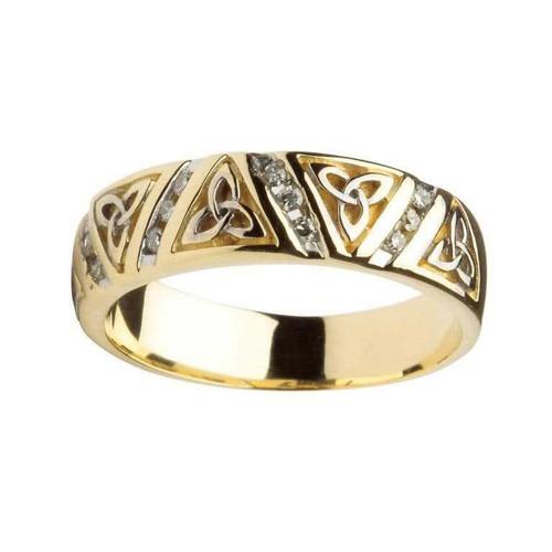 Women's 14 Karat Yellow Gold Diamond Trinity Knot Band