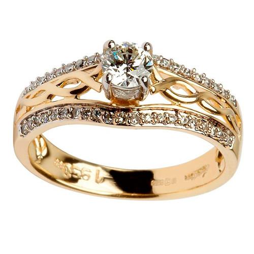 14 Karat Yellow Gold Diamond Pave Set Celtic Engagement Ring