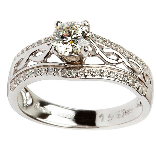 14 Karat White Gold Diamond Pave Set Celtic Engagement Ring