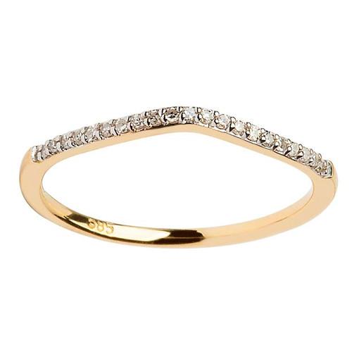 14 Karat Yellow Gold Diamond Pave Set Wedding Ring