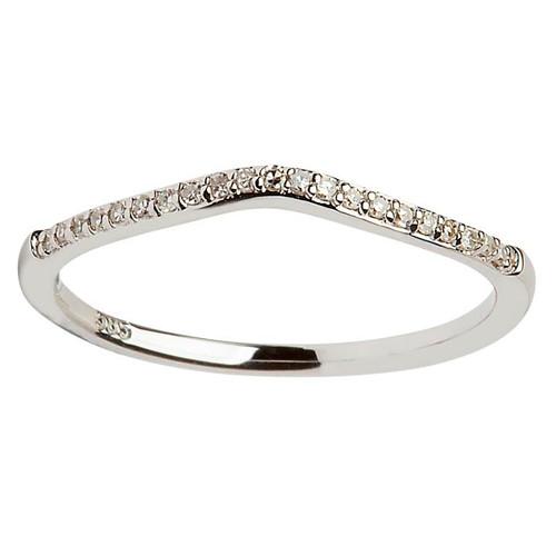 14 Karat White Gold Diamond Pave Set Wedding Ring