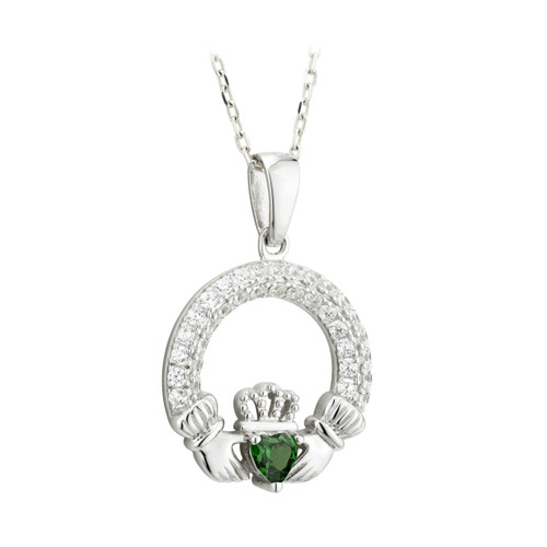 May - Sterling Silver CZ Birthstone Claddagh Pendant