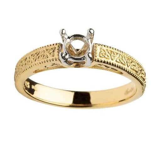 14 Karat Yellow & White Gold Round Cut Solitaire Diamond Celtic Engagement Ring Mount