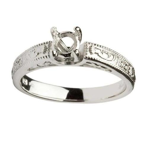 14 Karat White Gold Round Cut Solitaire Diamond Claddagh Engagement Ring Mount