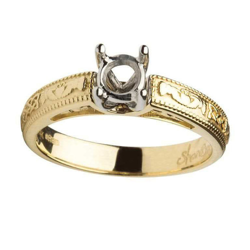 14 Karat Yellow & White Gold Round Cut Solitaire Diamond Claddagh Engagement Ring Mount