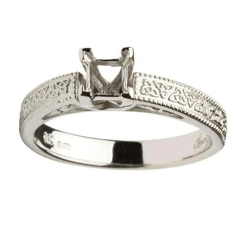 14 Karat White Gold Princess Cut Solitaire Diamond Celtic Engagement Ring Mount