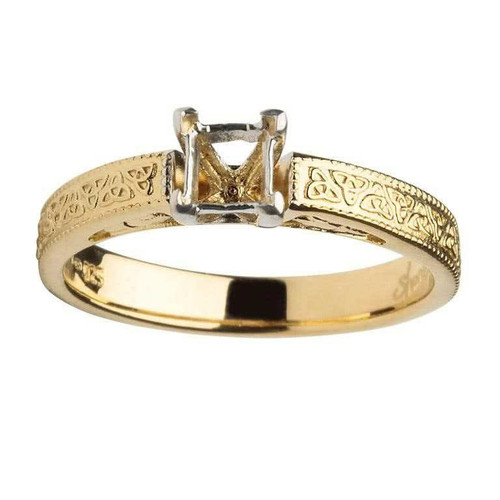14 Karat Yellow & White Gold Princess Cut Solitaire Diamond Celtic Engagement Ring Mount