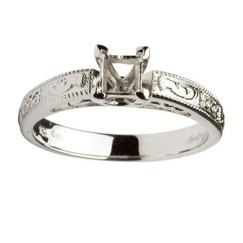 14 Karat White Gold Princess Cut Solitaire Diamond Claddagh Engagement Ring Mount