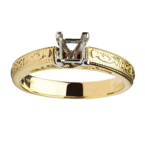 14 Karat Yellow & White Gold Princess Cut Solitaire Diamond Claddagh Engagement Ring Mount
