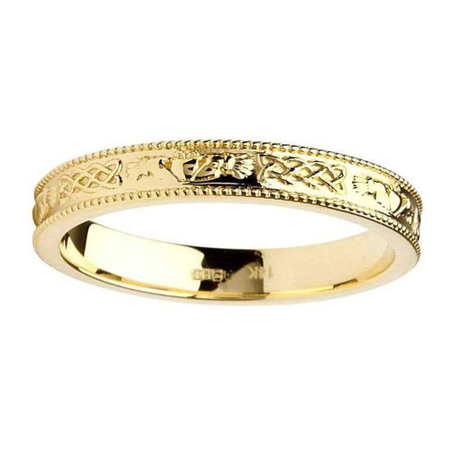 14 Karat Yellow Gold Claddagh and Celtic Knot Wedding Ring