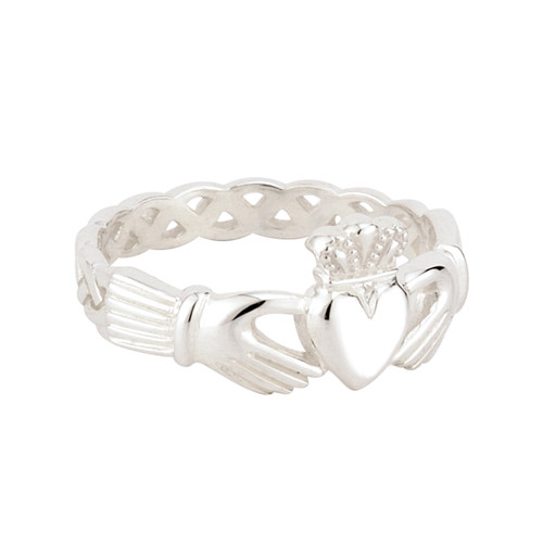 Women's Sterling Silver Braided Band Claddagh Ring