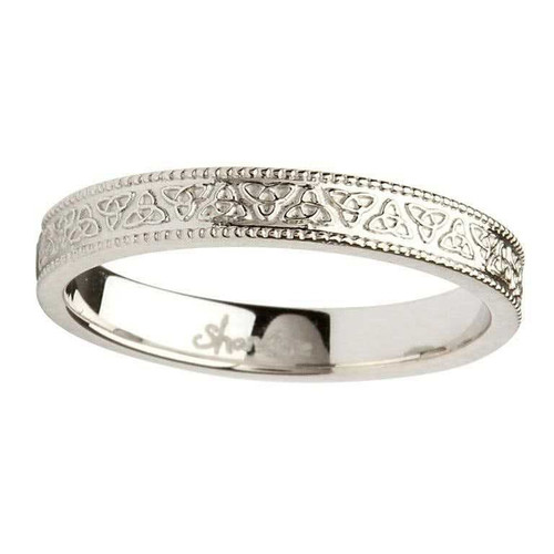 14 Karat White Gold Celtic Knot Wedding Ring