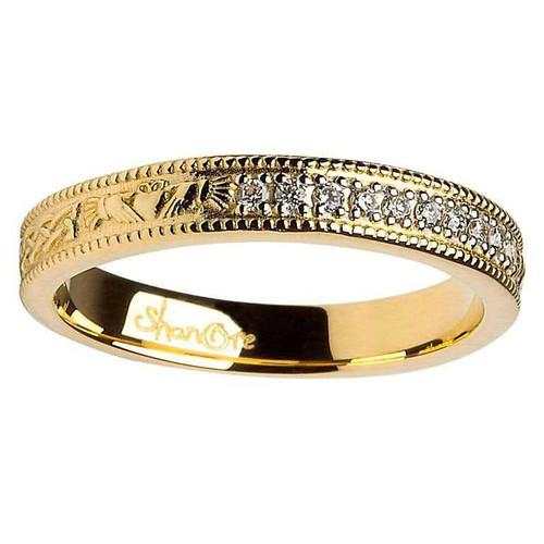 14 Karat Yellow Gold Claddagh and Celtic Knot Diamond Set Wedding Ring