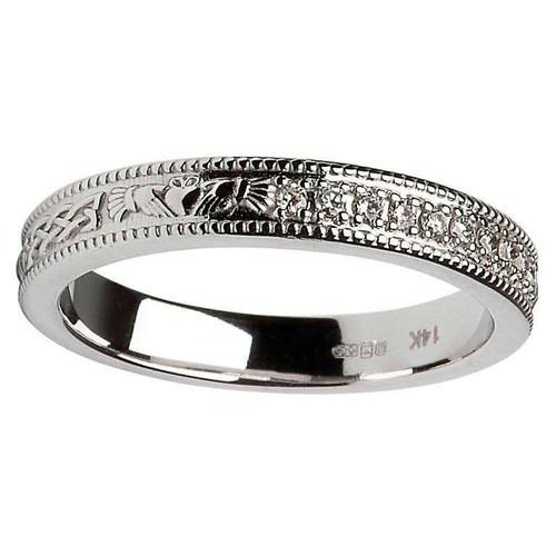 14 Karat White Gold Claddagh and Celtic Knot Diamond Set Wedding Ring