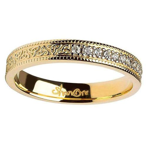 14 Karat Yellow Gold Celtic Knot Diamond Set Wedding Ring