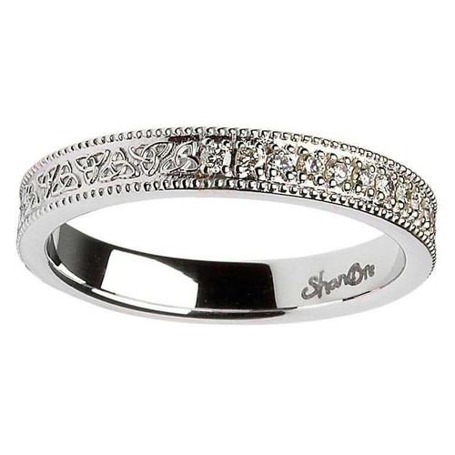 14 Karat White Gold Celtic Knot Diamond Set Wedding Ring