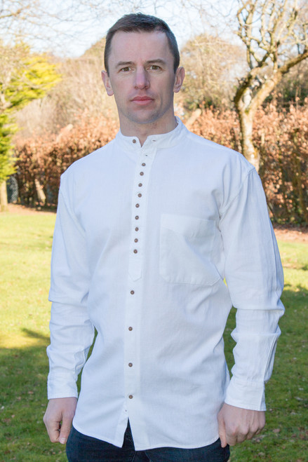 Men's Traditional Long Sleeve Grandfather Shirt - White