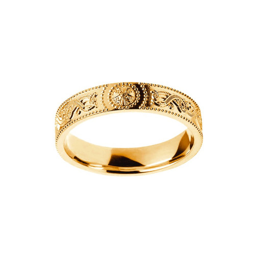 Women's Yellow Gold Celtic Warrior Shield Comfort Fit Wedding Ring